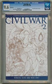 Civil War #2 Michael Turner Retail Sketch Variant 1:75 CGC 9.6 Captain America 3 Movie Marvel comic